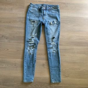 Distressed denim, skinny jeans, with stretch 6/28